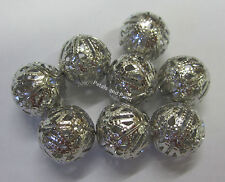 8 New 14mm Metal Filigree Silver Tone Ball Beads for Beading & Jewellery JF492