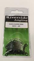 Quick Change Flexi Ring Swivels Size 8 x20 Kwik  Terminal Tackle Carp Fishing