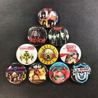 "Hair Metal 1"" Button Pin Set Heavy Hard Rock Classic Ratt Skid Row Motley Crue"
