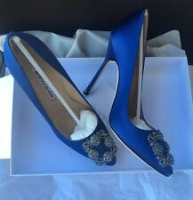 NIB Auth MANOLO BLAHNIK $965 Hangisi 115mm Crystal-buckle Satin Pump, Blue Sz 39