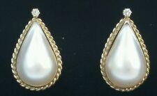 Vintage 14k Gold Mabe Pearl Diamond Earrings/Gold Pearl Earrings/Gold Earrings