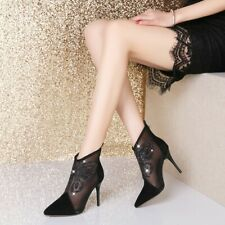 Womens Fashion Leather Mesh Diamante Butterfly High Heel Ankle Boots Shoes GCOK