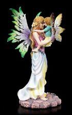 Elfen Figur - Magic Mama mit Kind auf Arm - Fantasy Feen Statue Deko