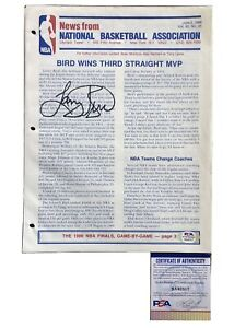 NBA OFFICIAL JUNE 2,1986 PRESS RELEASE LARRY BIRD WINS 3RD STRAIGHT MVP Signed