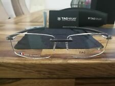 TAG HEUER Brushed Gray  Silver Arms Rimless Glasses TH 3441 004 56.15 RARE