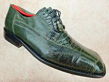 David Eden Exotic Crocodile Lizard Skin Oxford Leather Gray Green Shoe Men Sz 11