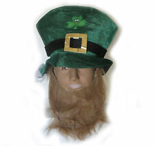 Green Top Hat Irish Leprechaun St Saint Patrick's Day Party Adult Hat & Beard