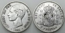 ESPAÑA ALFONSO XII 1881 *18-81 FLOJITO MSM 5 PESETAS MONEDA PLATA MBC+
