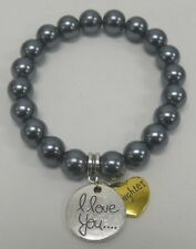 Faux Pearl Stretch Bracelet I Love You & Daughter Charms Gray NEW Ships from US