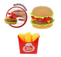 KIDS PRETEND PLAY HAMBURGER WITH CHIPS KITCHEN FOOD TOYS STACKABLE MAKE LEARN