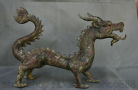 """18 """"Chine Bronze Ware Feng Shui Zodiaque Année Animal Dragon Loong Bête Statue"""