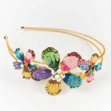 New high quality Multi-color rhinestones three flowers design metal headband