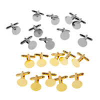 50 SIlver Mixed LOT 100 CUFF LINKS Blank 15mm Pad to Glue Findings ~ 50 Gold