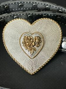 Crumrine Heart Heavy Silver Plate Gold Trim Belt And Buckle Made USA 40.5 Inch
