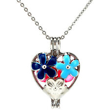 K1005 Enamel Flower Heart Blue Pearl Beads Cage Locket Pendant Necklace