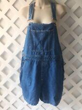 Vintage Bill Blass Blue Jean Short Overalls Sz L 100% Cotton Carpenter Festival
