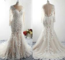 Champagne Plus Size Wedding Dress Mermaid Lace Pearls With Applique Long Sleeve