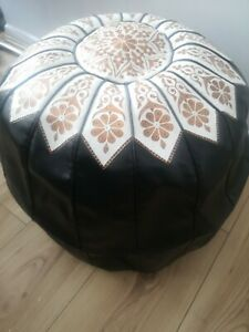 100% ORGANIC Genuine LEATHER MOROCCAN POUFFE FOOTSTOOL Black