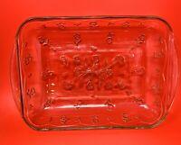 "Vintage Floral Clear Glass Lasagna Casserole Baking Dish Pan 9"" x 12"""