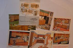 VINTAGE 1950s-60s KITCHEN CABINET SALESMAN'S 8x10 COLOR PHOTOS! & 2 BROCHURES!