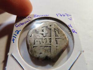 X112 Bolivia 1767-V Silver Cob 4 Reales