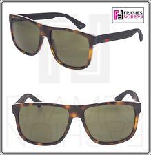 83561007d82 GUCCI STRIPE 0010 Black Rubber Tortoise Green Square Unisex Sunglasses  GG0010