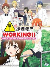 DVD Anime Working ! Season 1-3 + WWW.Working ( Vol. 1-52 End ) Engish Subtitle