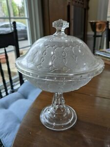 EAPG Loop and Dart with round ornaments Covered Compote Portland 1869 retail $55