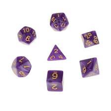 Set/7pcs Purple Acrylic Multi Sided Dice TRPG Games Dungeons & Dragon D4-D20