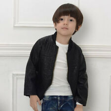 Autumny Kids Jacket Clothing Zipper PU Leather Coat Boys Outerwear 7-8year Black
