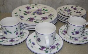 15 Pc Totally Today Dishes Dinnerware Plates Salad Cups Purple Violet Pansy