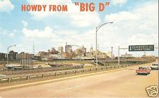 "Original Vintage 1950s Texas PC- Dallas- Howdy from ""Big D""- Car- City- Freeway"