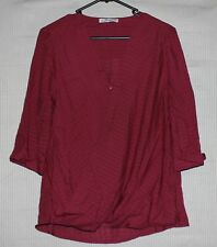 Cotton On Women's dark red 3/4 sleeve wrap top SIZE XS