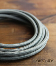 Dark grey 3 core braided fabric lighting cable - vintage industrial cafe
