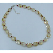 .925 Sterling Silver Natural Yellow Citrine Nugget Italian Coral Necklace