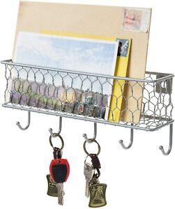 Silver Metal Wall Mounted Mail Sorter w/ Chicken Wire Mesh Basket & 5 Key Hooks