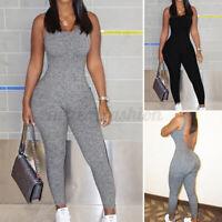 ZANZEA Femme Combinaison Pantalon Long Ajustement mince Dos Du Sans Manche Plus