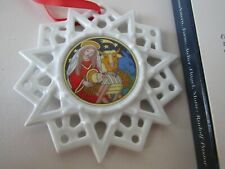 "HUTSCHENREUTHER 3"" Porcelain Christmas STAR Ornament Krippe (Jesus) Crib w Box"