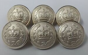 Genuine Obsolete Police / Military Issue Crown and Laurel Silver Buttons 23.8mm