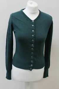 MARGARET HOWELL Ladies Teal Blue Merino Wool V Neck Button Up Cardigan UK8