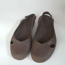 Crocs Olivia Brown Ballet Flat Sandals Clogs Sling Back 8 Med Womens Preowned