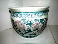 Asian Green Vines w/ Pink Flowers Design Porcelain Ceramic Planter or Vase