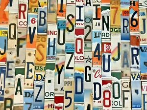 Worn & Faded License Plate Letters and Numbers to Build Your Own Signs