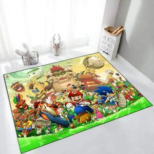 Super Mario Area Rug Living Room Bedroom Carpet Anti-Slip Decorate Mat Kid Gift