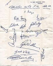 Autograph from Bristol City Football Club - 1952/1953. Hotel in Warwick