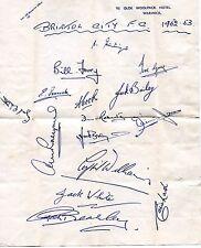 Autograph from Bristol City Football Club - 1952/1953. Hotel in Warwick