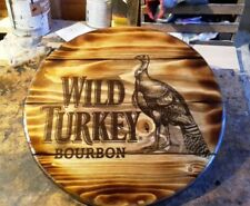 WILD TURKEY BOURBON  barrel top style  round plaque wooden sign  14inch