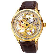 New Men's Akribos XXIV AK802YG Vibrant Mechanical Skeletal Brown Leather Watch