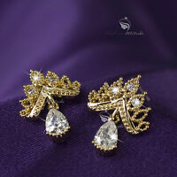 18k gold gp made with SWAROVSKI crystal stud crown earrings 925 silver