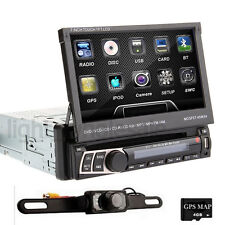"""7"""" Single DIN Car DVD Player GPS Navigation Bluetooth Touch Stereo Radio SD+Cam"""